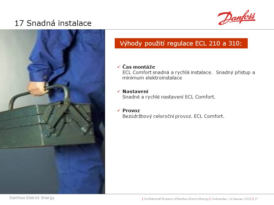 | Confidential/Property of Danfoss District Energy | Wednesday, 14 January 2015 | 17 Danfoss District Energy 17 Snadná instalace Čas montáže ECL Comfo