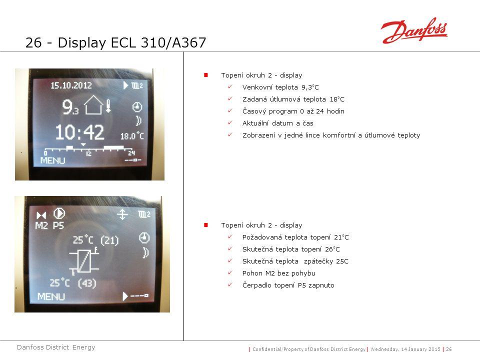| Confidential/Property of Danfoss District Energy | Wednesday, 14 January 2015 | 26 Danfoss District Energy Topení okruh 2 - display Venkovní teplota 9,3°C Zadaná útlumová teplota 18°C Časový program 0 až 24 hodin Aktuální datum a čas Zobrazení v jedné lince komfortní a útlumové teploty Topení okruh 2 - display Požadovaná teplota topení 21°C Skutečná teplota topení 26°C Skutečná teplota zpátečky 25C Pohon M2 bez pohybu Čerpadlo topení P5 zapnuto 26 - Display ECL 310/A367