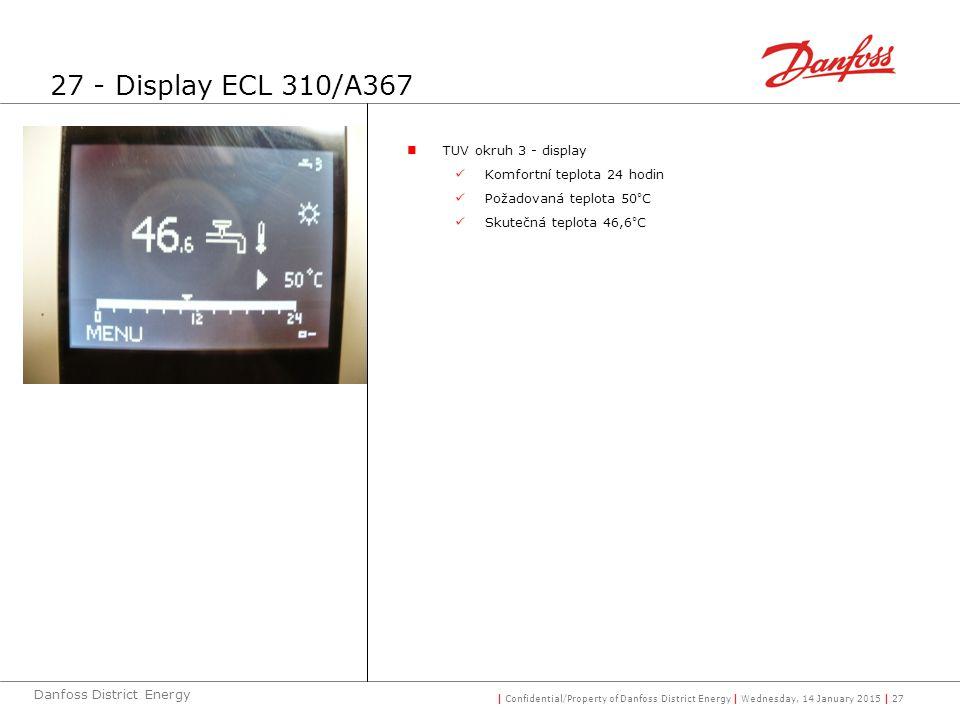 | Confidential/Property of Danfoss District Energy | Wednesday, 14 January 2015 | 27 Danfoss District Energy TUV okruh 3 - display Komfortní teplota 24 hodin Požadovaná teplota 50°C Skutečná teplota 46,6°C 27 - Display ECL 310/A367