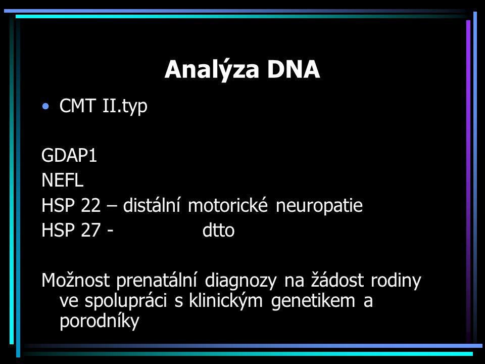 Analýza DNA CMT II.typ GDAP1 NEFL HSP 22 – distální motorické neuropatie HSP 27 - dtto Možnost prenatální diagnozy na žádost rodiny ve spolupráci s kl