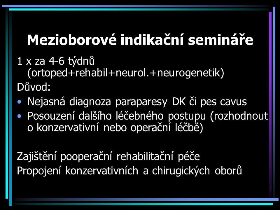 Mezioborové indikační semináře 1 x za 4-6 týdnů (ortoped+rehabil+neurol.+neurogenetik) Důvod: Nejasná diagnoza paraparesy DK či pes cavus Posouzení da