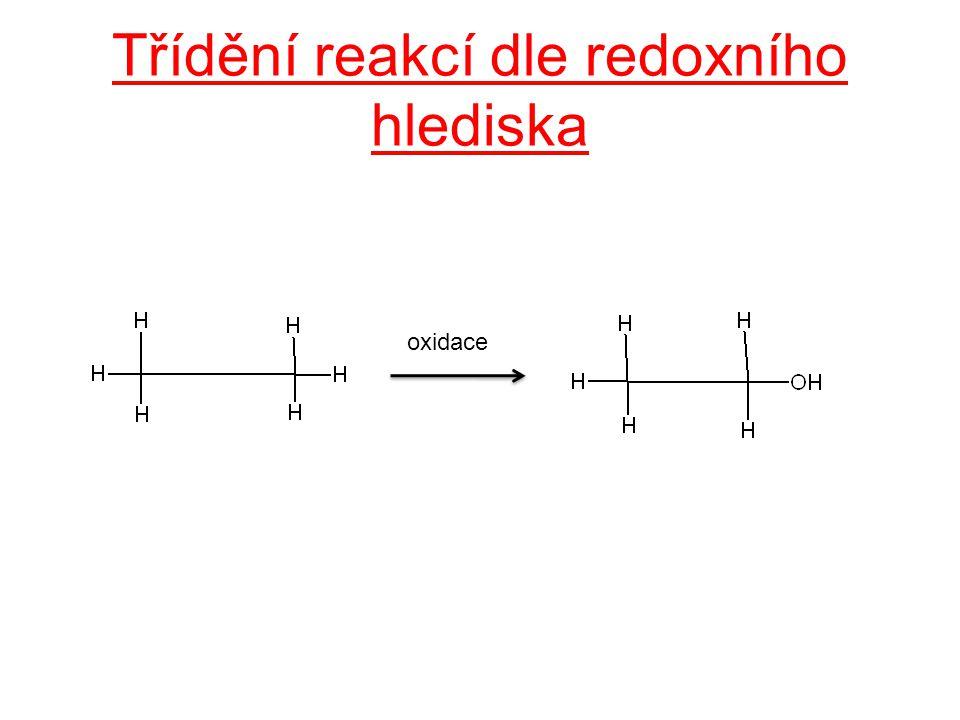 Třídění reakcí dle redoxního hlediska oxidace