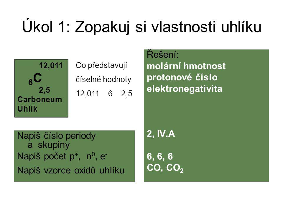 Úkol 1: Zopakuj si vlastnosti uhlíku Napiš číslo periody a skupiny Napiš počet p +, n 0, e - Napiš vzorce oxidů uhlíku Řešení: molární hmotnost proton