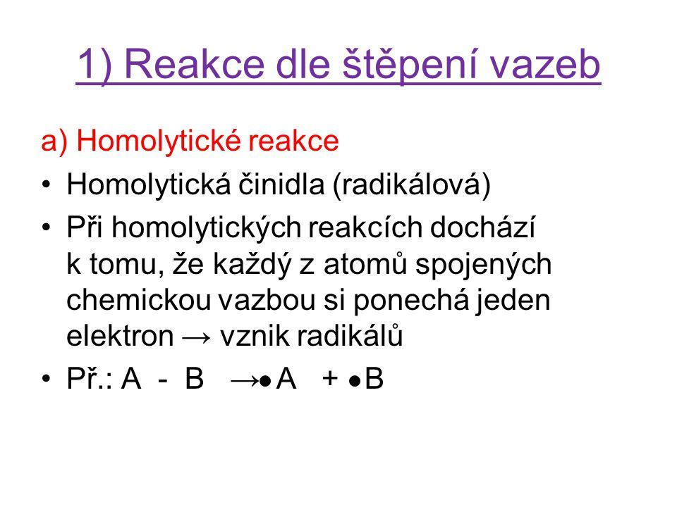 1) Reakce dle štěpení vazeb b) Heterolytické reakce Při heterolytických reakcích dochází k tomu, že vazebný elektronový pár zůstává u jednoho z vazebných partnerů → vznik iontů Př.: A - B → A + + B - Heterolytická činidla (iontová) – vyvolávají heterolýzu (iontové štěpení) »Elektrofilní »Nukleofilní