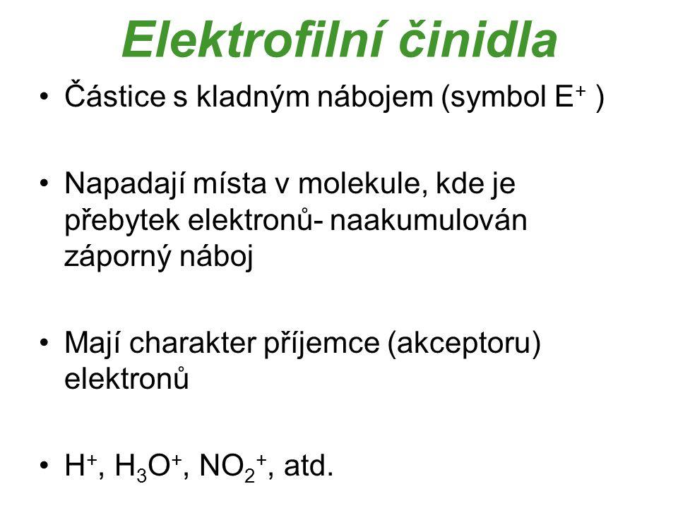 Elektrofilní činidla Částice s kladným nábojem (symbol E + ) Napadají místa v molekule, kde je přebytek elektronů- naakumulován záporný náboj Mají cha