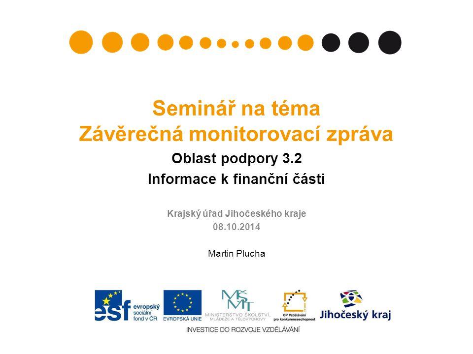 Obsah Ukončení projektu z finančního hlediska Doporučení Časová způsobilost výdajů Závěrečná monitorovací zpráva (MZ) Přílohy závěrečné MZ Závěrečné vyúčtování Žádost o platbu Nejčastější chyby 08.10.20142