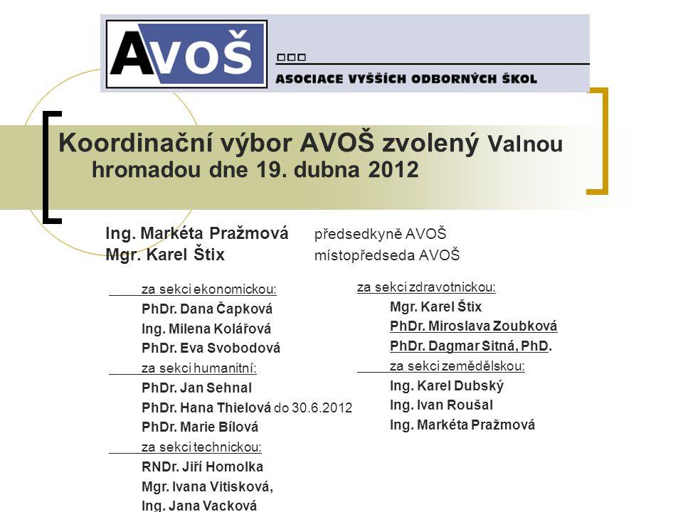Koordinační výbor AVOŠ zvolený Valnou hromadou dne 19.