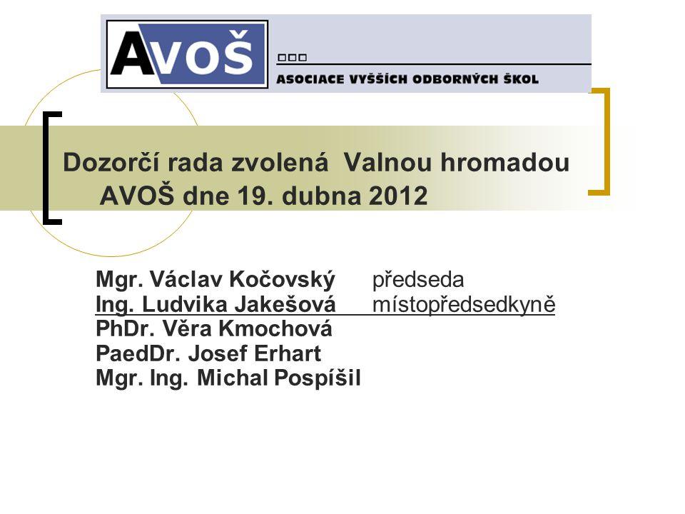 Dozorčí rada zvolená Valnou hromadou AVOŠ dne 19. dubna 2012 Mgr.