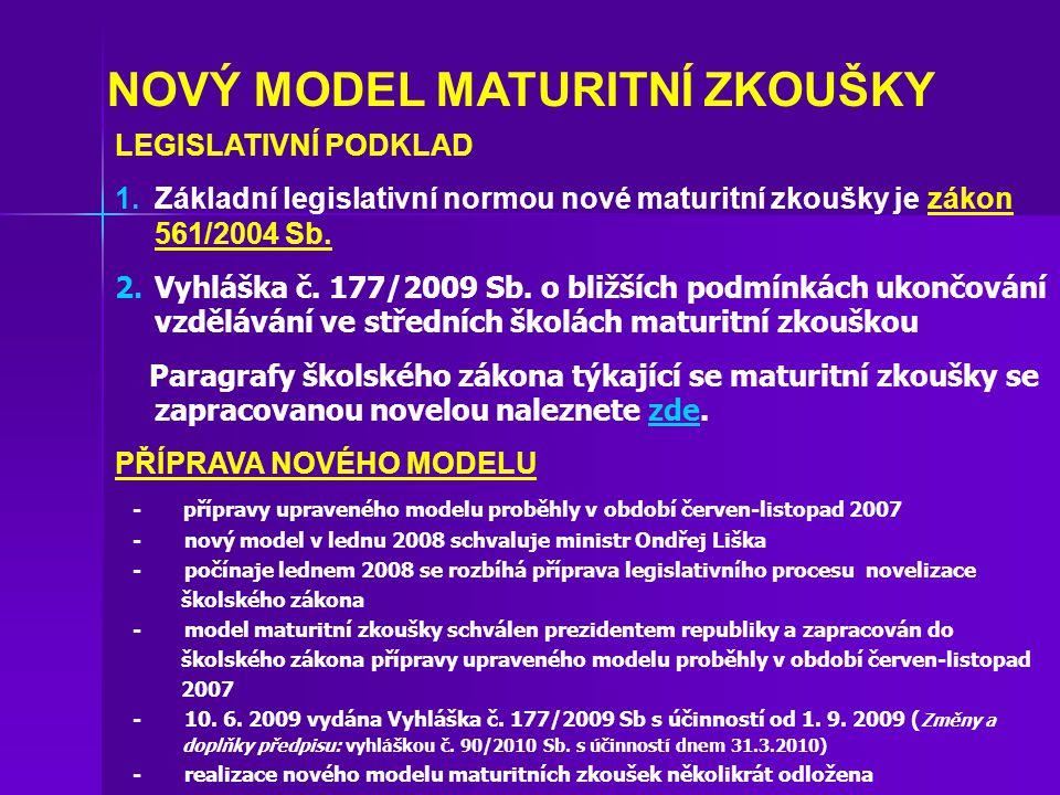 NOVÝ MODEL MATURITNÍ ZKOUŠKY LEGISLATIVNÍ PODKLAD 1.