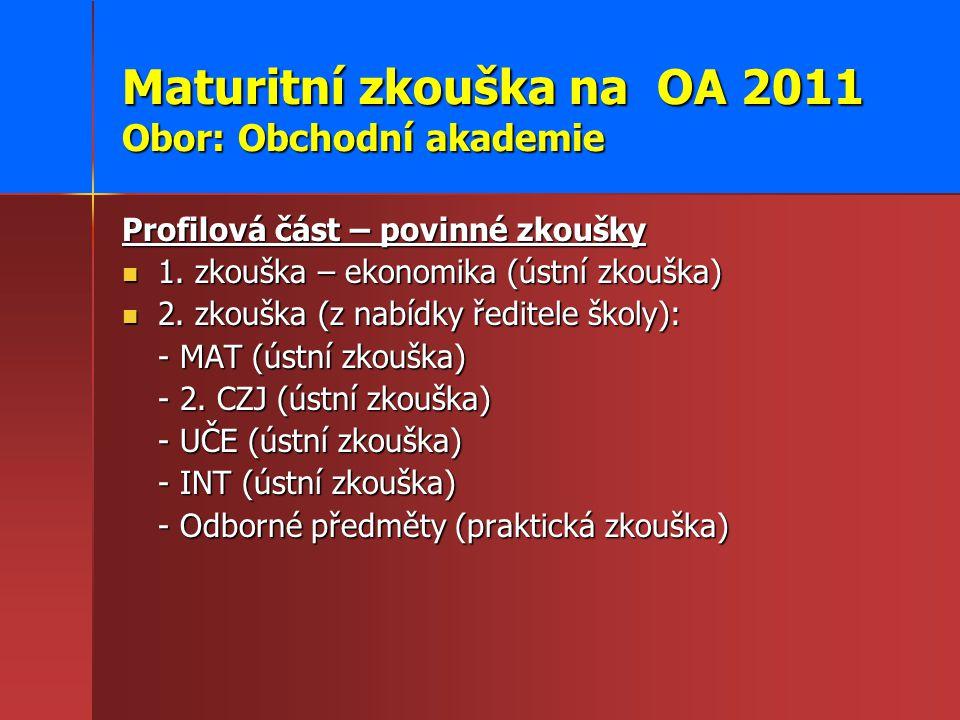 Maturitní zkouška na OA 2011 Obor: Obchodní akademie Profilová část – povinné zkoušky 1.