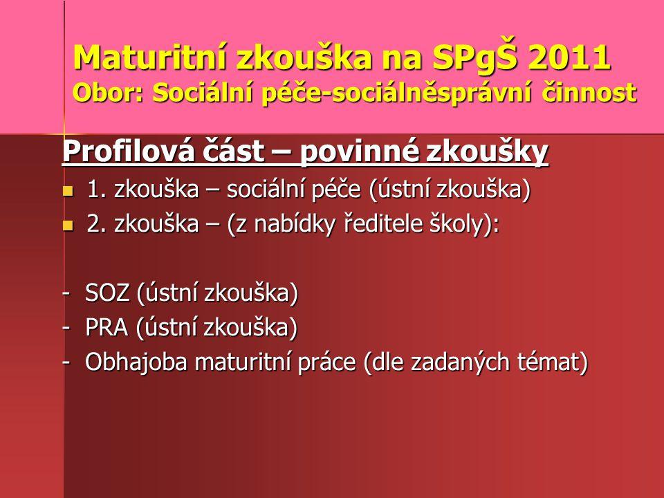 Maturitní zkouška na SPgŠ 2011 Obor: Sociální péče-sociálněsprávní činnost Profilová část – povinné zkoušky 1.