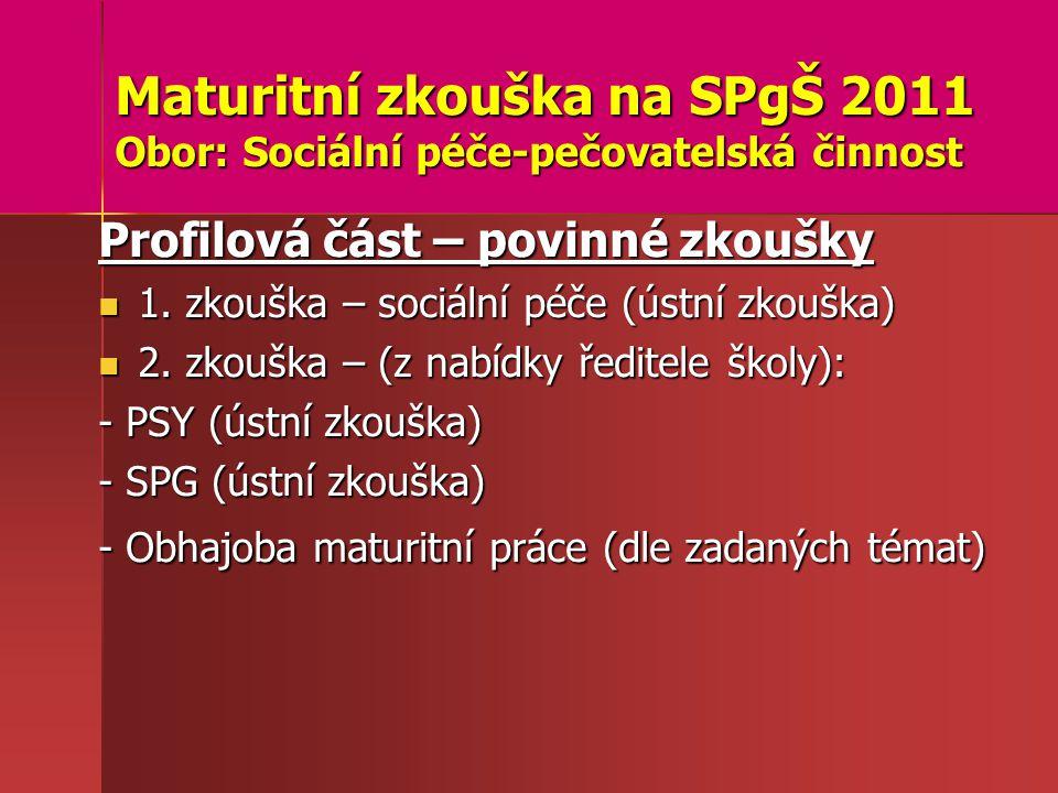 Maturitní zkouška na SPgŠ 2011 Obor: Sociální péče-pečovatelská činnost Profilová část – povinné zkoušky 1.