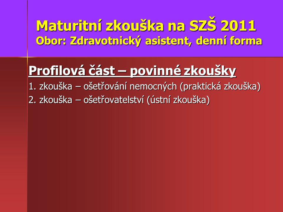 Maturitní zkouška na SZŠ 2011 Obor: Zdravotnický asistent, denní forma Profilová část – povinné zkoušky 1.