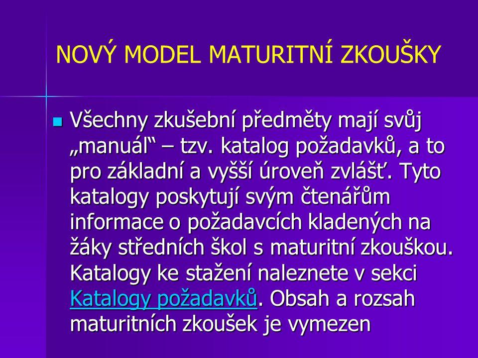 """NOVÝ MODEL MATURITNÍ ZKOUŠKY Všechny zkušební předměty mají svůj """"manuál – tzv."""