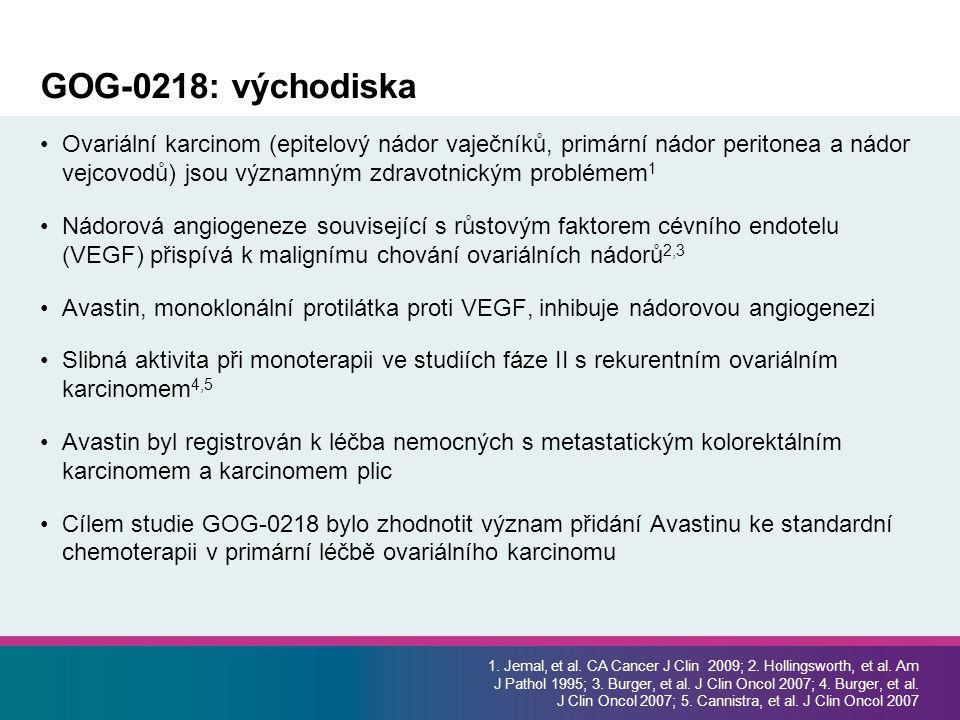 GOG-0218: východiska Ovariální karcinom (epitelový nádor vaječníků, primární nádor peritonea a nádor vejcovodů) jsou významným zdravotnickým problémem