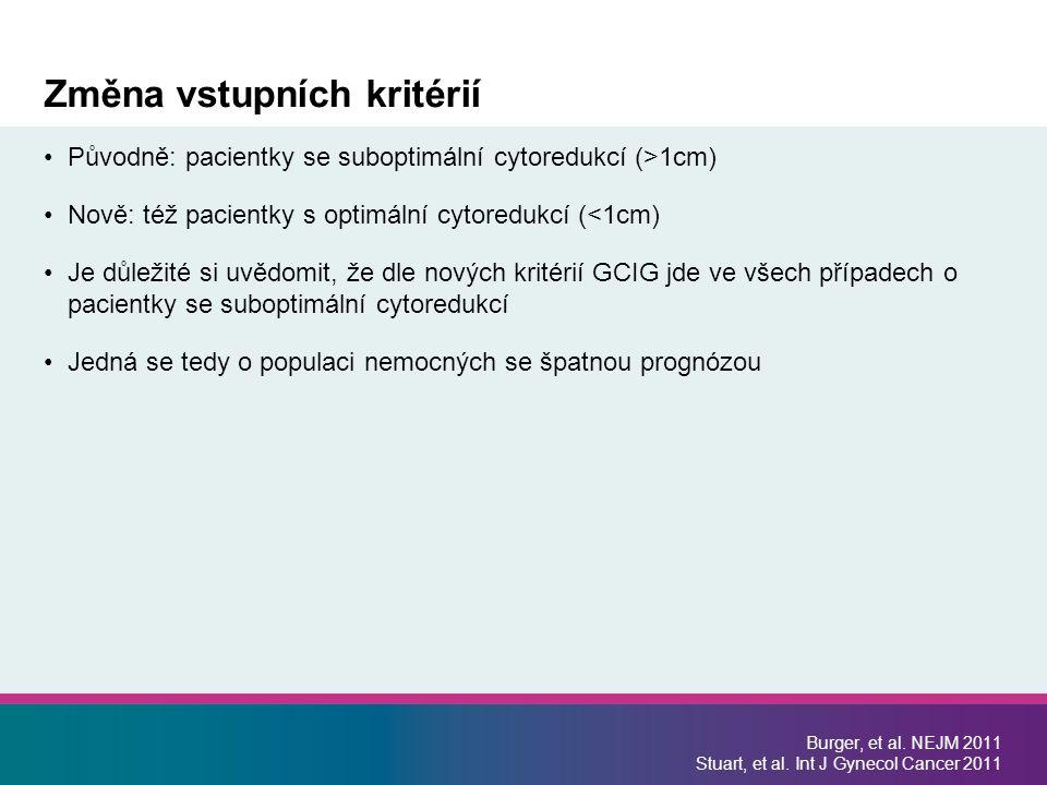 Změna vstupních kritérií Burger, et al. NEJM 2011 Stuart, et al. Int J Gynecol Cancer 2011 Původně: pacientky se suboptimální cytoredukcí (>1cm) Nově: