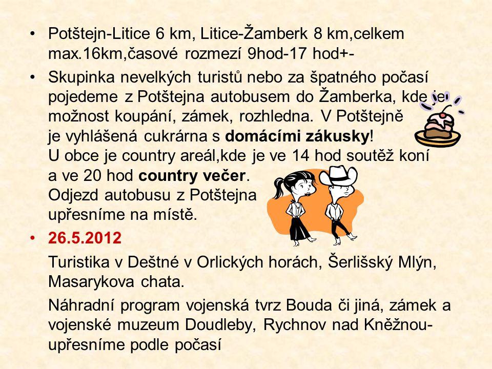 Potštejn-Litice 6 km, Litice-Žamberk 8 km,celkem max.16km,časové rozmezí 9hod-17 hod+- Skupinka nevelkých turistů nebo za špatného počasí pojedeme z Potštejna autobusem do Žamberka, kde je možnost koupání, zámek, rozhledna.