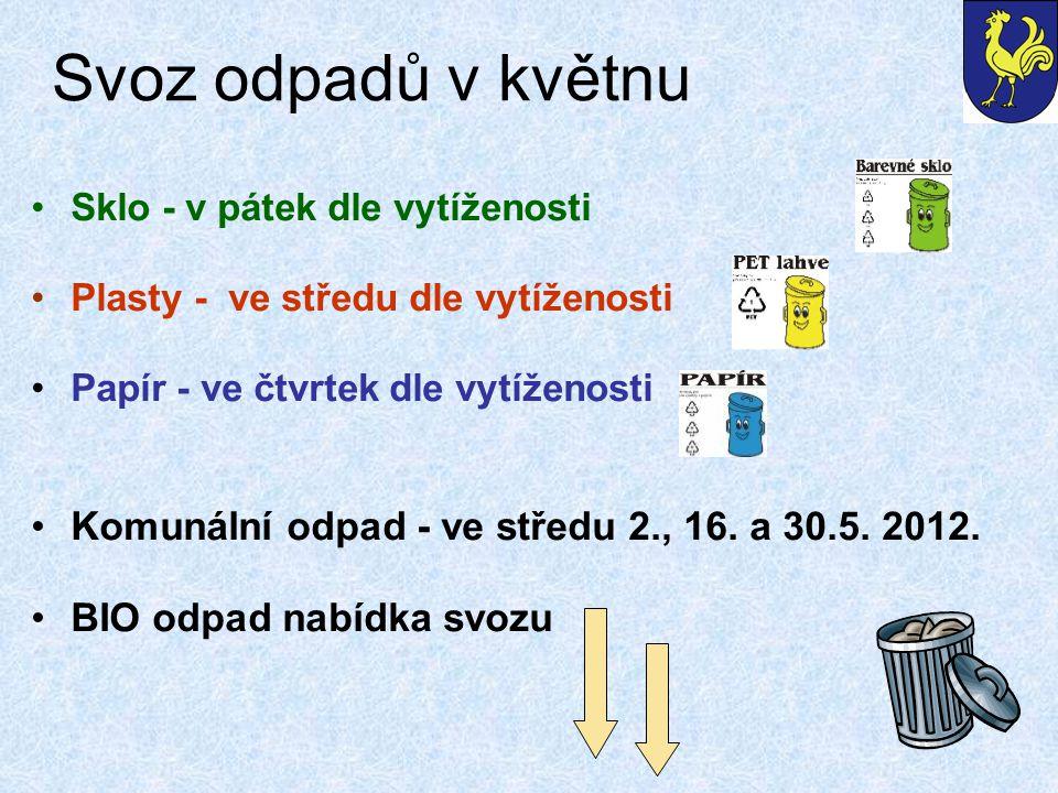 Svoz odpadů v květnu Sklo - v pátek dle vytíženosti Plasty - ve středu dle vytíženosti Papír - ve čtvrtek dle vytíženosti Komunální odpad - ve středu 2., 16.