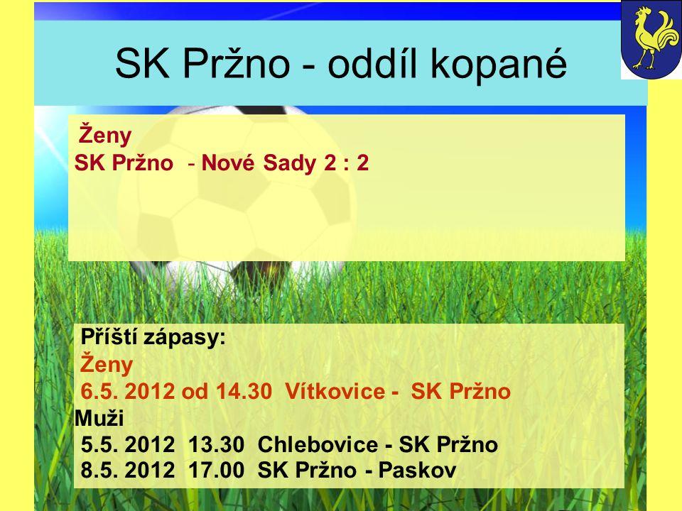 SK Pržno - oddíl kopané Příští zápasy: Ženy 6.5. 2012 od 14.30 Vítkovice - SK Pržno Muži 5.5.