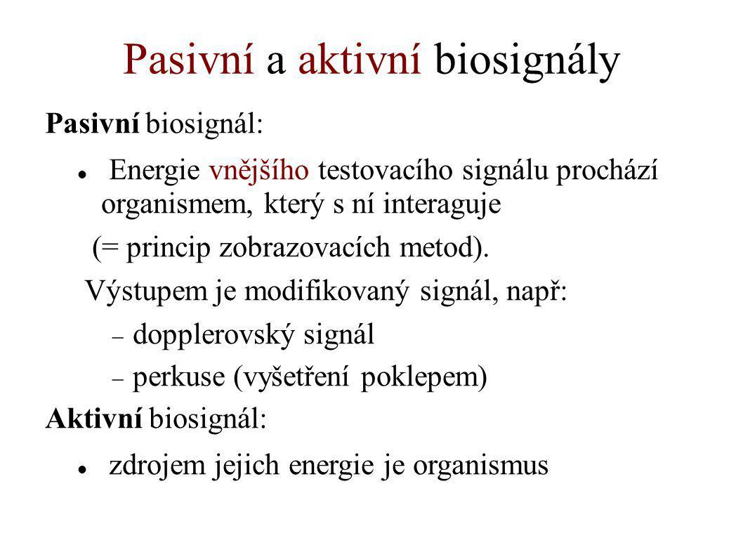 Pasivní a aktivní biosignály Pasivní biosignál: Energie vnějšího testovacího signálu prochází organismem, který s ní interaguje (= princip zobrazovací