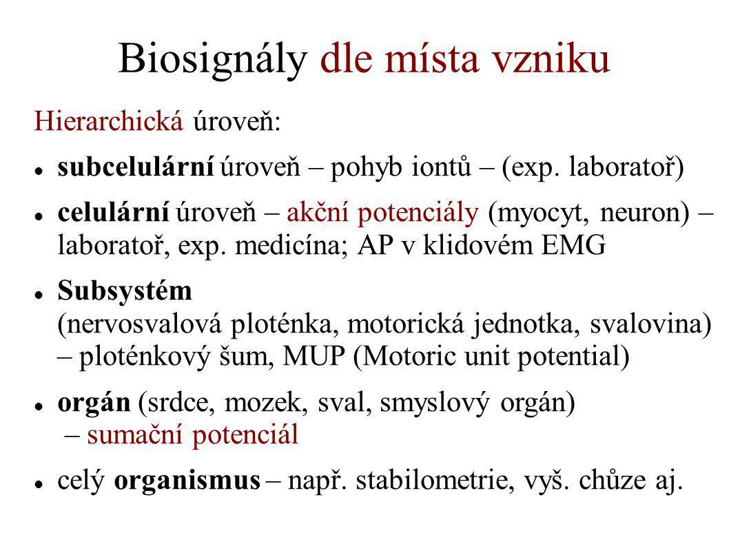 Biosignály dle místa vzniku Hierarchická úroveň: subcelulární úroveň – pohyb iontů – (exp. laboratoř) celulární úroveň – akční potenciály (myocyt, ne