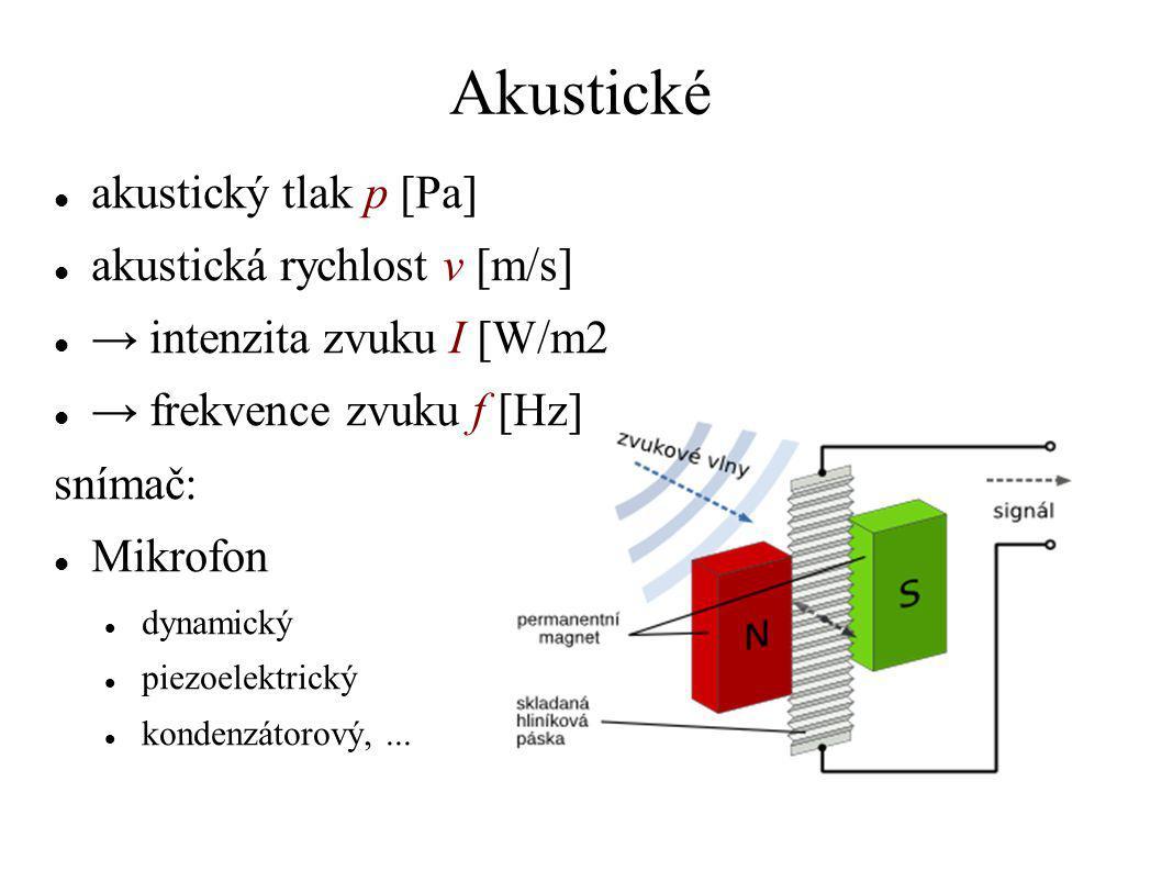 Akustické akustický tlak p [Pa] akustická rychlost v [m/s] → intenzita zvuku I [W/m2 → frekvence zvuku f [Hz] snímač: Mikrofon dynamický piezoelektric