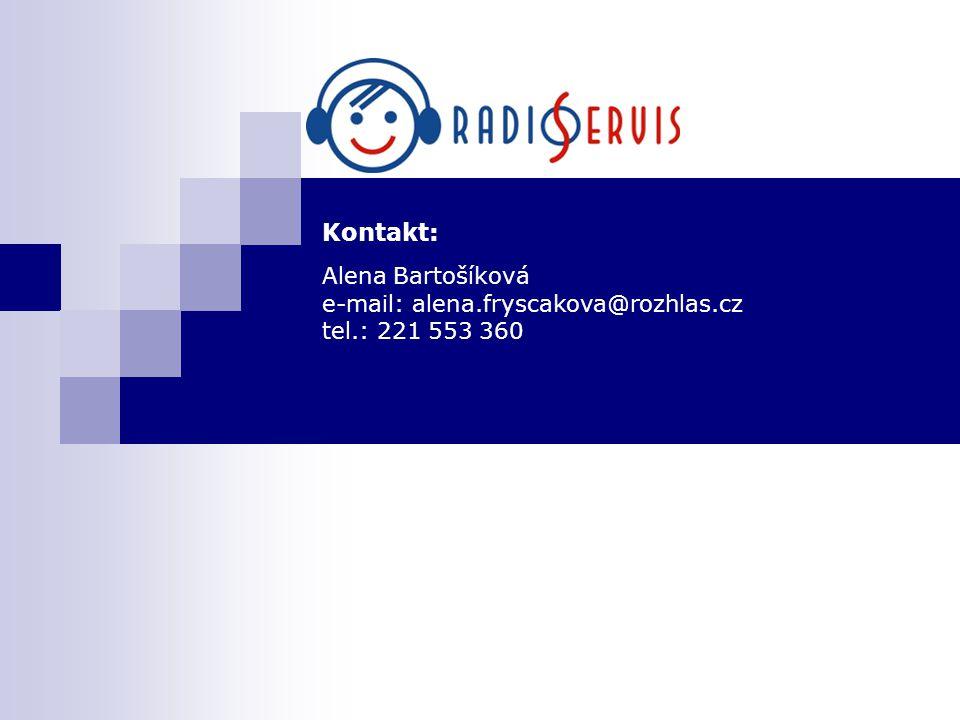 Kontakt: Alena Bartošíková e-mail: alena.fryscakova@rozhlas.cz tel.: 221 553 360