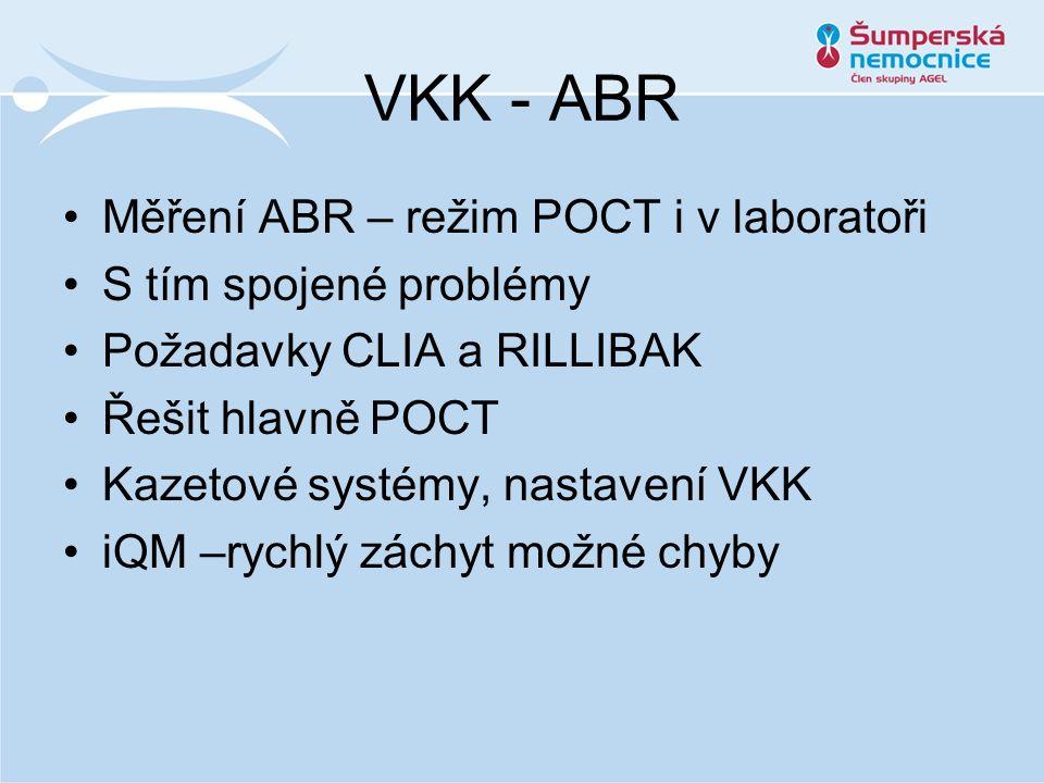 VKK - ABR Měření ABR – režim POCT i v laboratoři S tím spojené problémy Požadavky CLIA a RILLIBAK Řešit hlavně POCT Kazetové systémy, nastavení VKK iQM –rychlý záchyt možné chyby