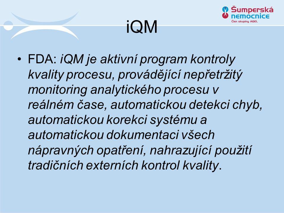 iQM FDA: iQM je aktivní program kontroly kvality procesu, provádějící nepřetržitý monitoring analytického procesu v reálném čase, automatickou detekci chyb, automatickou korekci systému a automatickou dokumentaci všech nápravných opatření, nahrazující použití tradičních externích kontrol kvality.