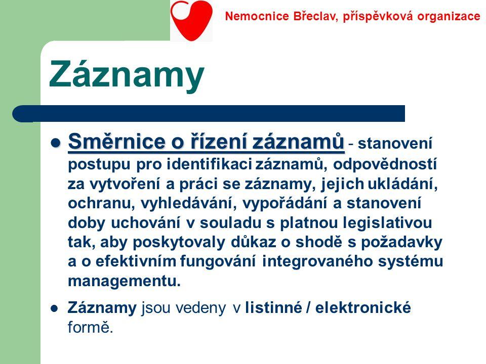 Záznamy Směrnice o řízení záznamů Směrnice o řízení záznamů - stanovení postupu pro identifikaci záznamů, odpovědností za vytvoření a práci se záznamy