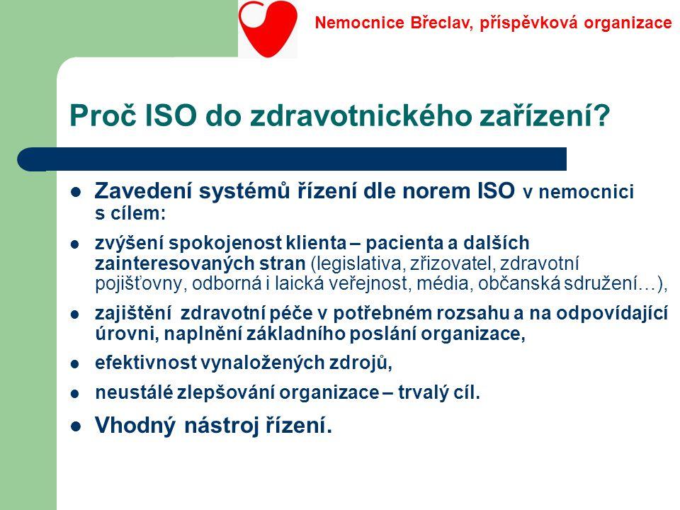 Proč ISO do zdravotnického zařízení? Zavedení systémů řízení dle norem ISO v nemocnici s cílem: zvýšení spokojenost klienta – pacienta a dalších zaint