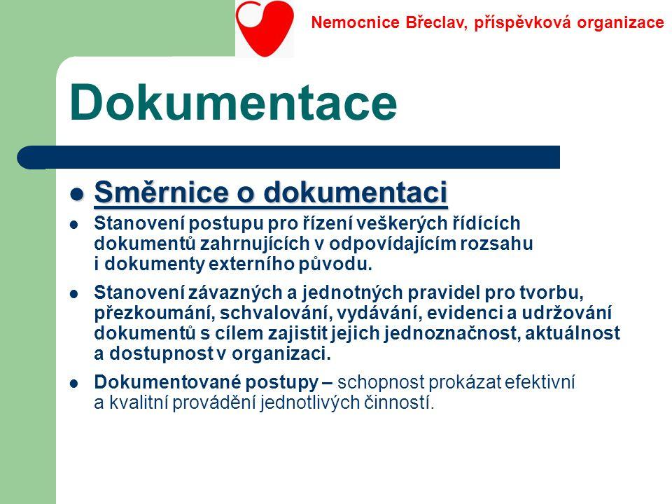Dokumentace Směrnice o dokumentaci Směrnice o dokumentaci Stanovení postupu pro řízení veškerých řídících dokumentů zahrnujících v odpovídajícím rozsa