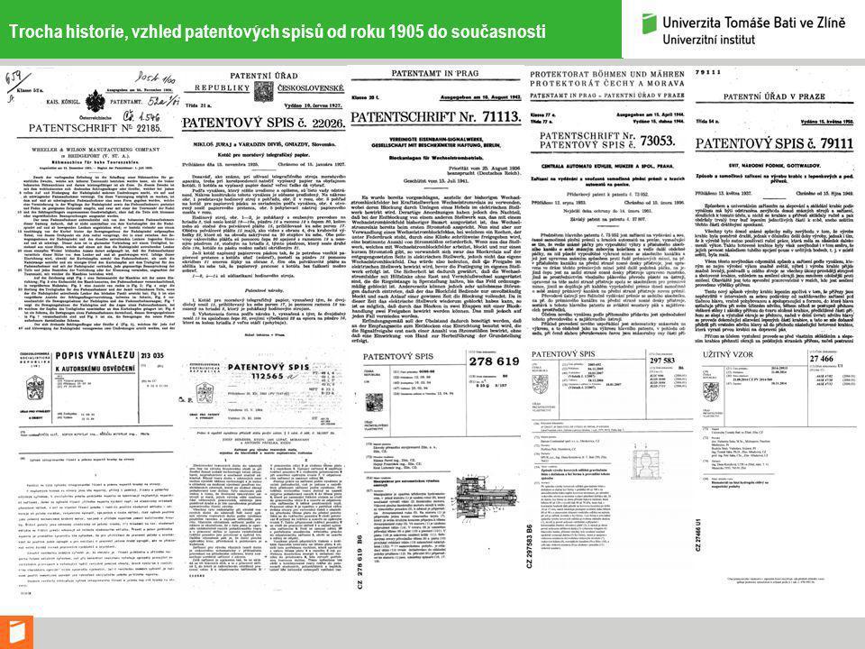 Trocha historie, vzhled patentových spisů od roku 1905 do současnosti