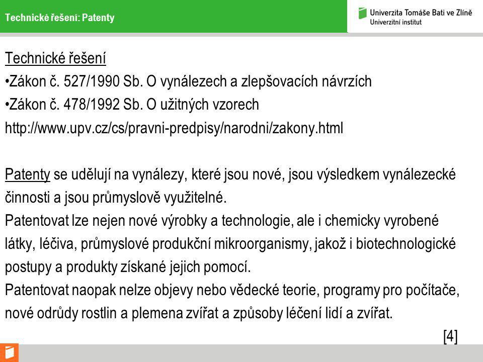Technické řešení: Patenty Technické řešení Zákon č.