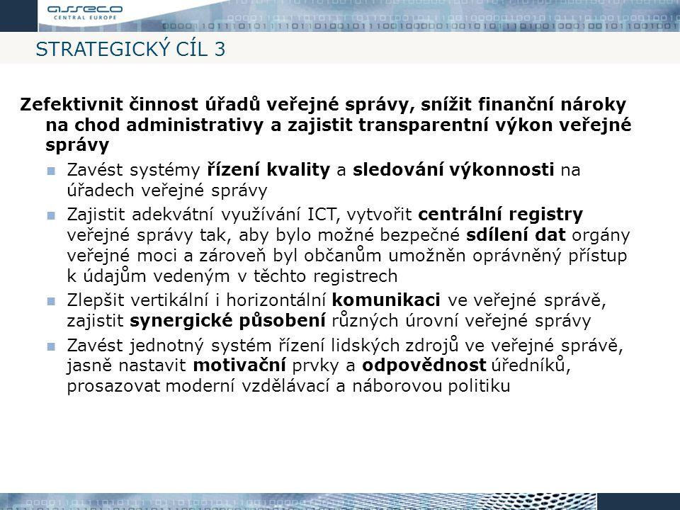 STRATEGICKÝ CÍL 3 Zefektivnit činnost úřadů veřejné správy, snížit finanční nároky na chod administrativy a zajistit transparentní výkon veřejné správ