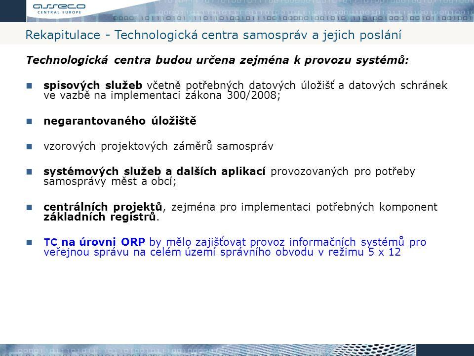 Rekapitulace - Technologická centra samospráv a jejich poslání Technologická centra budou určena zejména k provozu systémů: spisových služeb včetně po