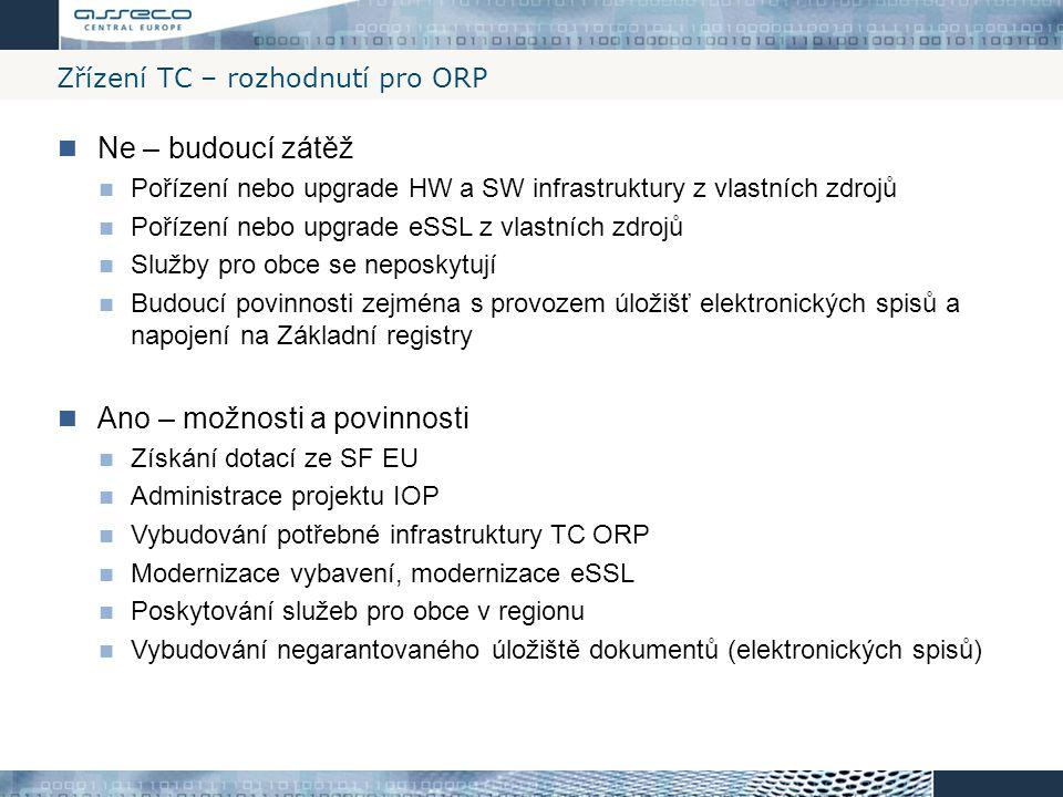 Zřízení TC – rozhodnutí pro ORP Ne – budoucí zátěž Pořízení nebo upgrade HW a SW infrastruktury z vlastních zdrojů Pořízení nebo upgrade eSSL z vlastn