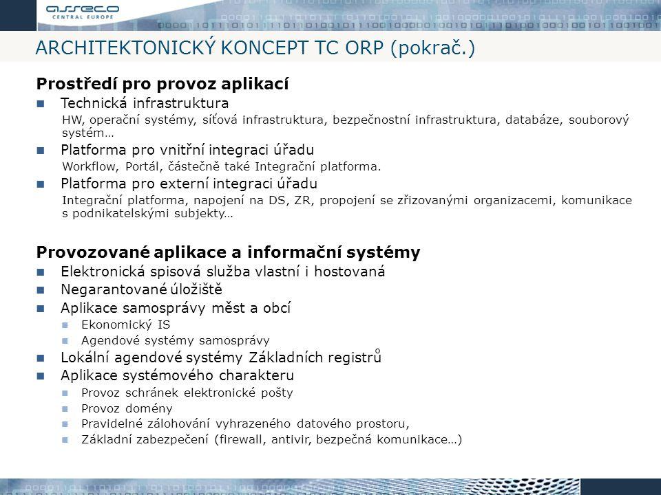 ARCHITEKTONICKÝ KONCEPT TC ORP (pokrač.) Prostředí pro provoz aplikací Technická infrastruktura HW, operační systémy, síťová infrastruktura, bezpečnos