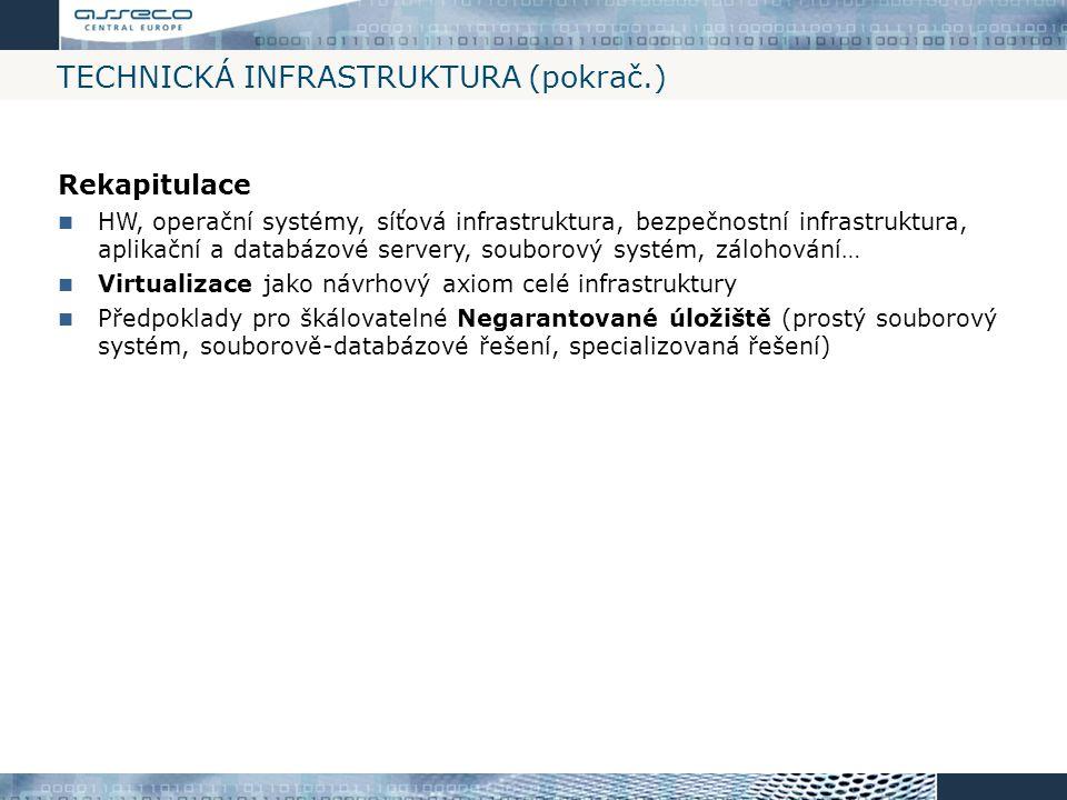 TECHNICKÁ INFRASTRUKTURA (pokrač.) Rekapitulace HW, operační systémy, síťová infrastruktura, bezpečnostní infrastruktura, aplikační a databázové serve
