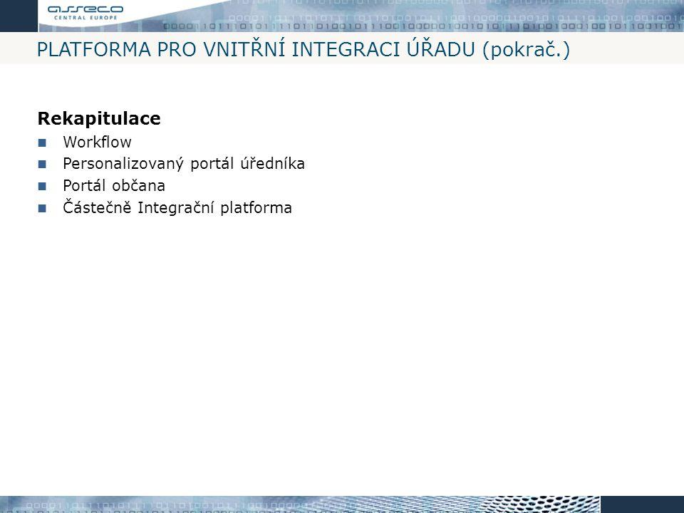 PLATFORMA PRO VNITŘNÍ INTEGRACI ÚŘADU (pokrač.) Rekapitulace Workflow Personalizovaný portál úředníka Portál občana Částečně Integrační platforma