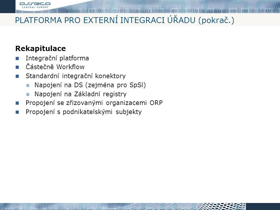 PLATFORMA PRO EXTERNÍ INTEGRACI ÚŘADU (pokrač.) Rekapitulace Integrační platforma Částečně Workflow Standardní integrační konektory Napojení na DS (ze