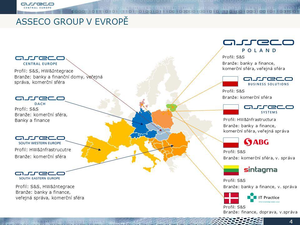 ASSECO GROUP V EVROPĚ Profil: S&S, HW&Integrace Branže: banky a finance, veřejná správa, komerční sféra Profil: S&S Branže: komerční sféra, Banky a fi