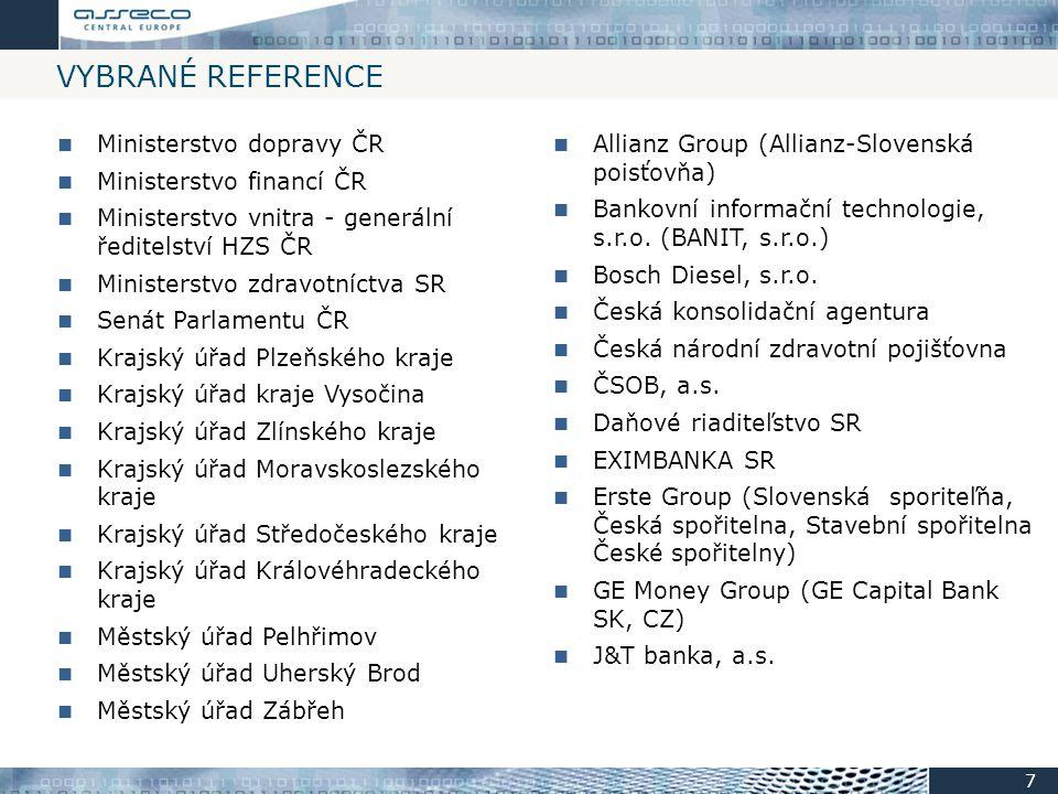 VYBRANÉ REFERENCE Allianz Group (Allianz-Slovenská poisťovňa) Bankovní informační technologie, s.r.o. (BANIT, s.r.o.) Bosch Diesel, s.r.o. Česká konso