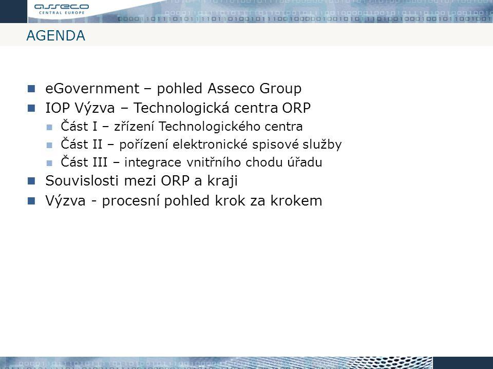AGENDA eGovernment – pohled Asseco Group IOP Výzva – Technologická centra ORP Část I – zřízení Technologického centra Část II – pořízení elektronické