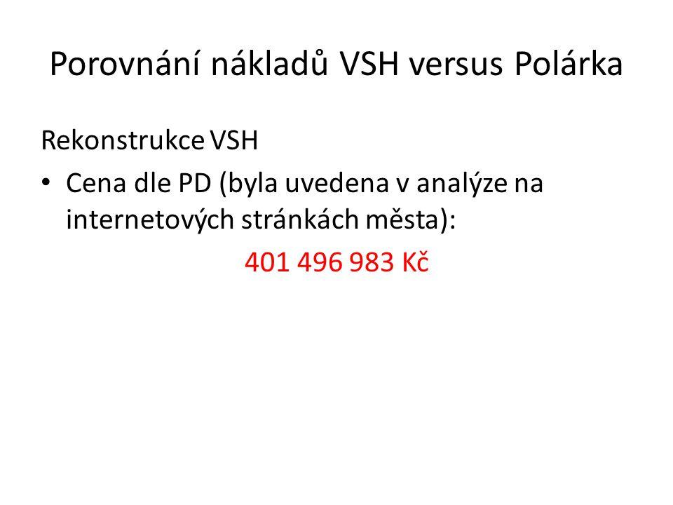 Porovnání nákladů VSH versus Polárka Rekonstrukce VSH Cena dle PD (byla uvedena v analýze na internetových stránkách města): 401 496 983 Kč