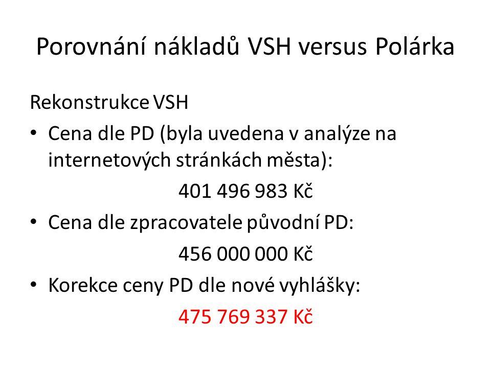 Porovnání nákladů VSH versus Polárka Rekonstrukce VSH Cena dle PD (byla uvedena v analýze na internetových stránkách města): 401 496 983 Kč Cena dle zpracovatele původní PD: 456 000 000 Kč Korekce ceny PD dle nové vyhlášky: 475 769 337 Kč