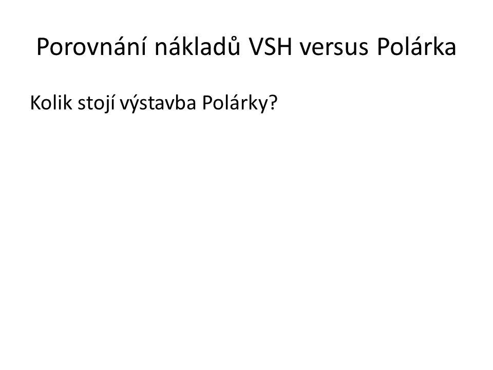 Porovnání nákladů VSH versus Polárka Rekonstrukce VSH Cena dle PD (byla uvedena v analýze na internetových stránkách města):