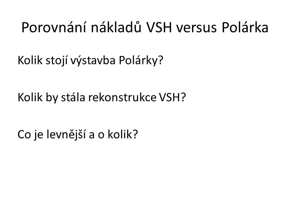 Porovnání nákladů VSH versus Polárka Rekonstrukce VSH Cena dle PD (byla uvedena v analýze na internetových stránkách města): 401 496 983 Kč Cena dle zpracovatele původní PD: