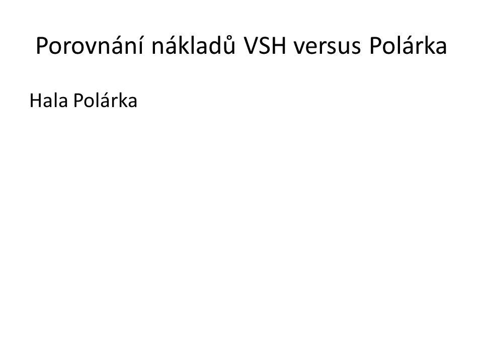Porovnání nákladů VSH versus Polárka Rekonstrukce VSH Cena dle PD (byla uvedena v analýze na internetových stránkách města): 401 496 983 Kč Cena dle zpracovatele původní PD: 456 000 000 Kč