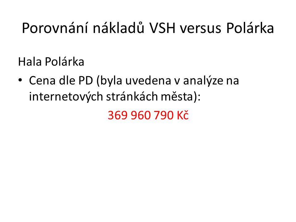 Porovnání nákladů VSH versus Polárka Hala Polárka Cena dle PD (byla uvedena v analýze na internetových stránkách města): 369 960 790 Kč Korekce ceny PD dle nové vyhlášky: